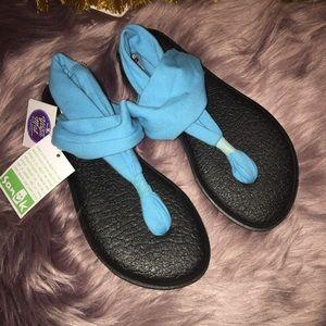 Sanuk Yoga Mat Sandals 5 Sling 2 Blue Black NWT